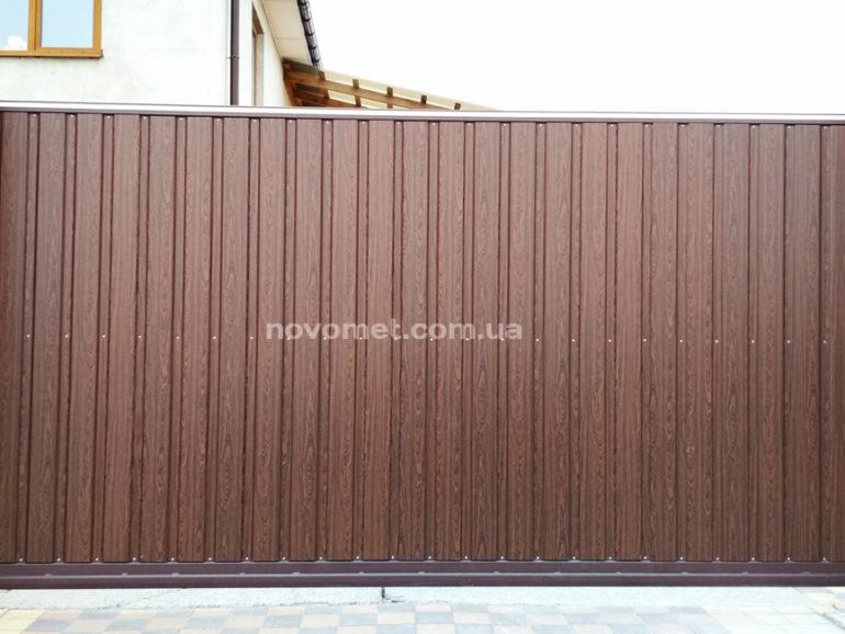 Откатные ворота с профнастила, размер 3800(ш)*1850(в)(2)
