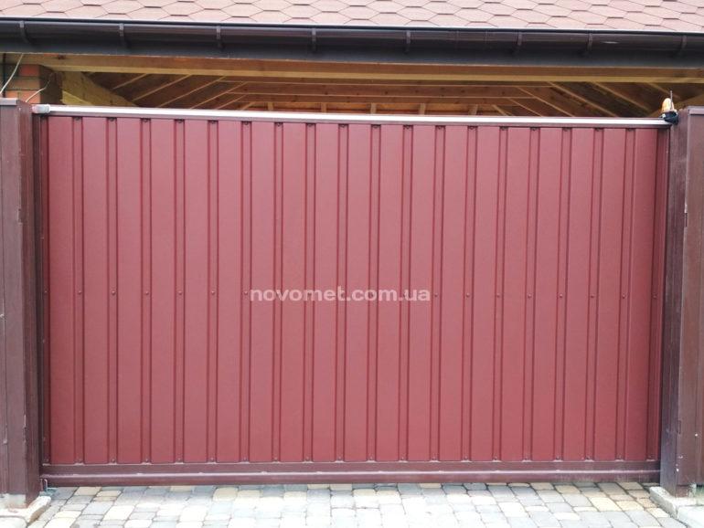 Откатные ворота с профнастила, размер 3500(ш)*1800(в)
